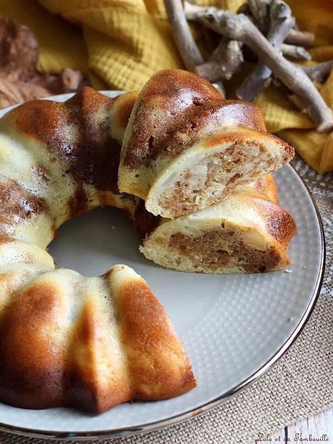 moelleux poires praliné, moelleux avec fromage blanc poires et praliné