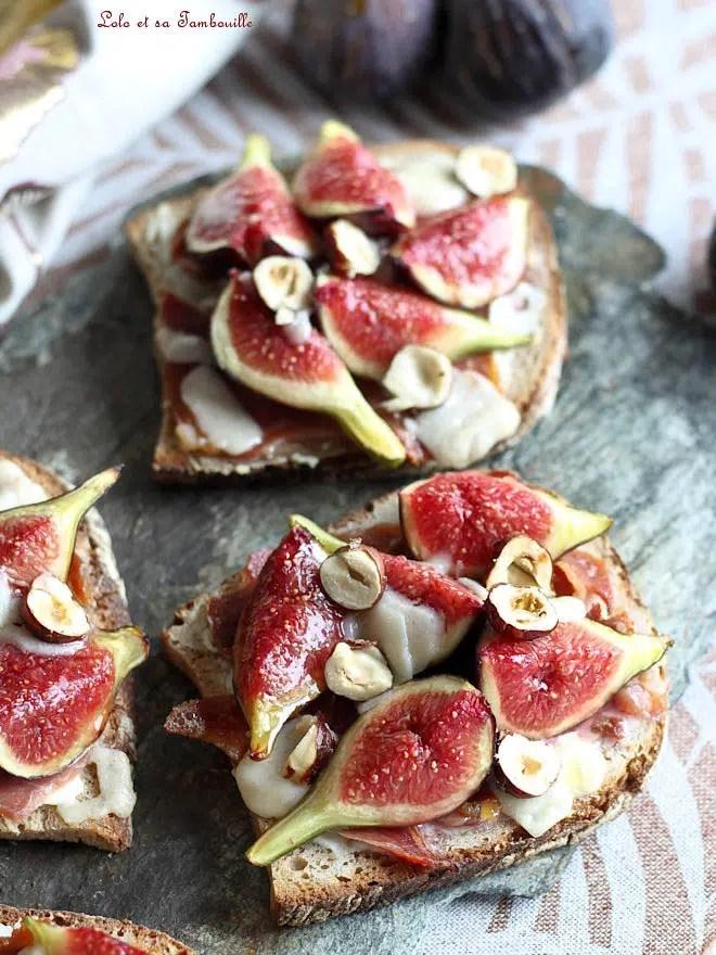 recette de tartines aux figues, tartines repas aux figues