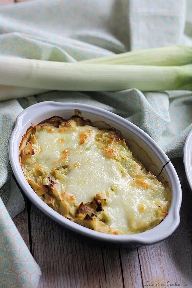 Gratin de ravioles aux poireaux & mozzarella