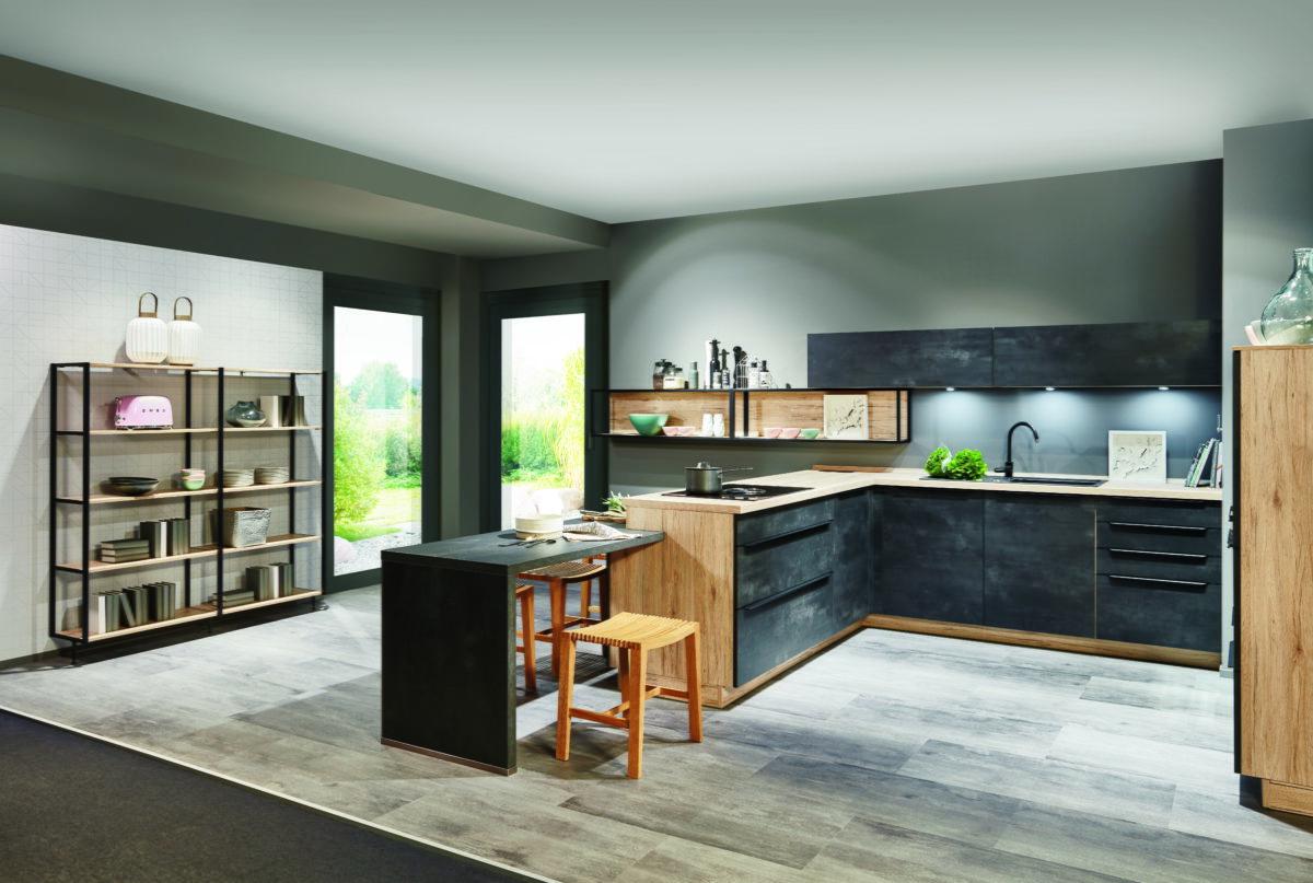 nobilia cuisine beton noir bois