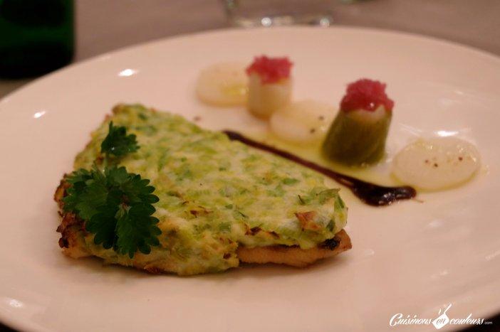 Dorade fondue de poireaux et parmesan, palet de navet et poireaux - Le 16 Haussman