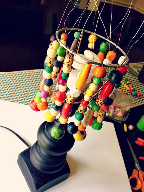 DIY bead lampshade 11