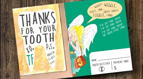 """DIY Printable Tooth Fairy Thank You Card from the Children's Book """"My Tooth is Loose!"""" by Becca Wilkinson"""
