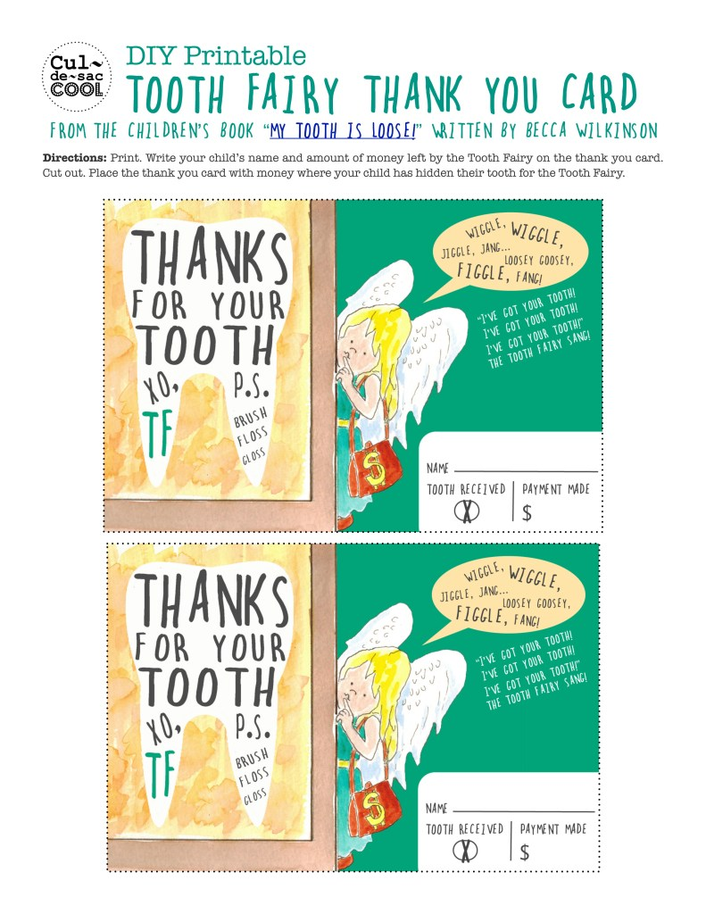 Tooth Fairy Thank You My Tooth is Loose by Becca Wilkinson child