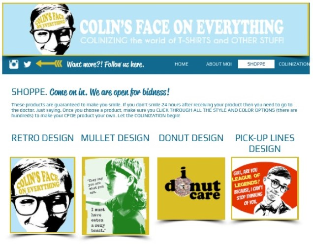 Colin's Face On Everything Website 2