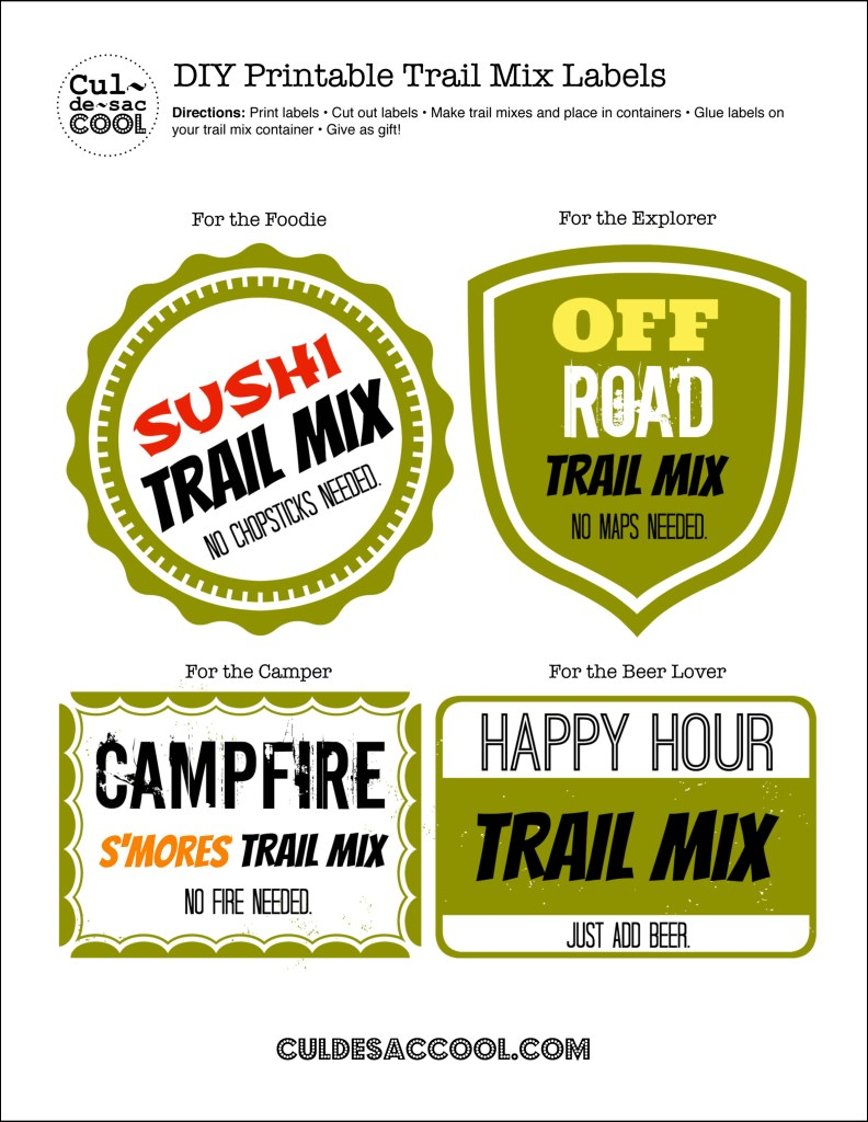 Trail Mix Labels