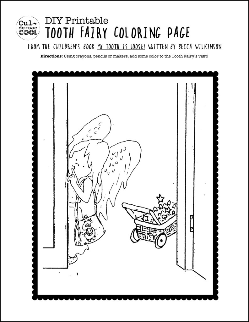 DIY Printable Tooth Fairy Coloring Page from The Children's Book My Tooth is Loose by Becca Wilkinson copy