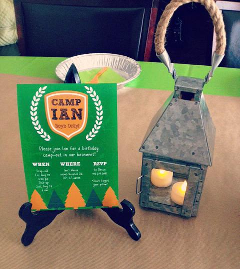 DIY Camp Birthday invite