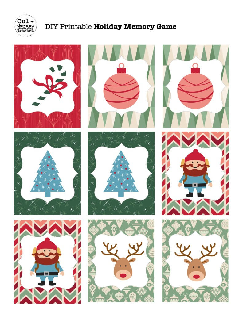 DIY Printable Holiday Memory Game