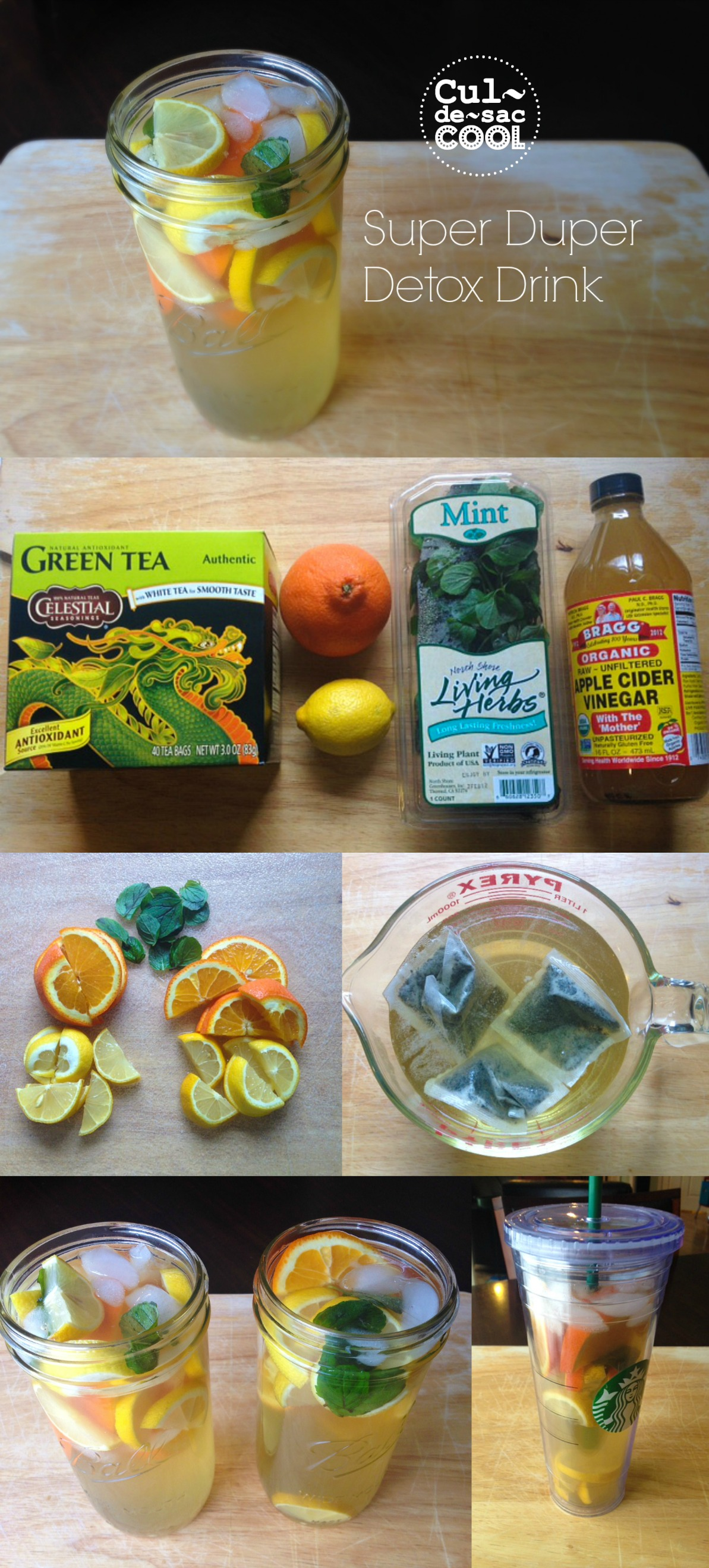 super duper detox drink collage