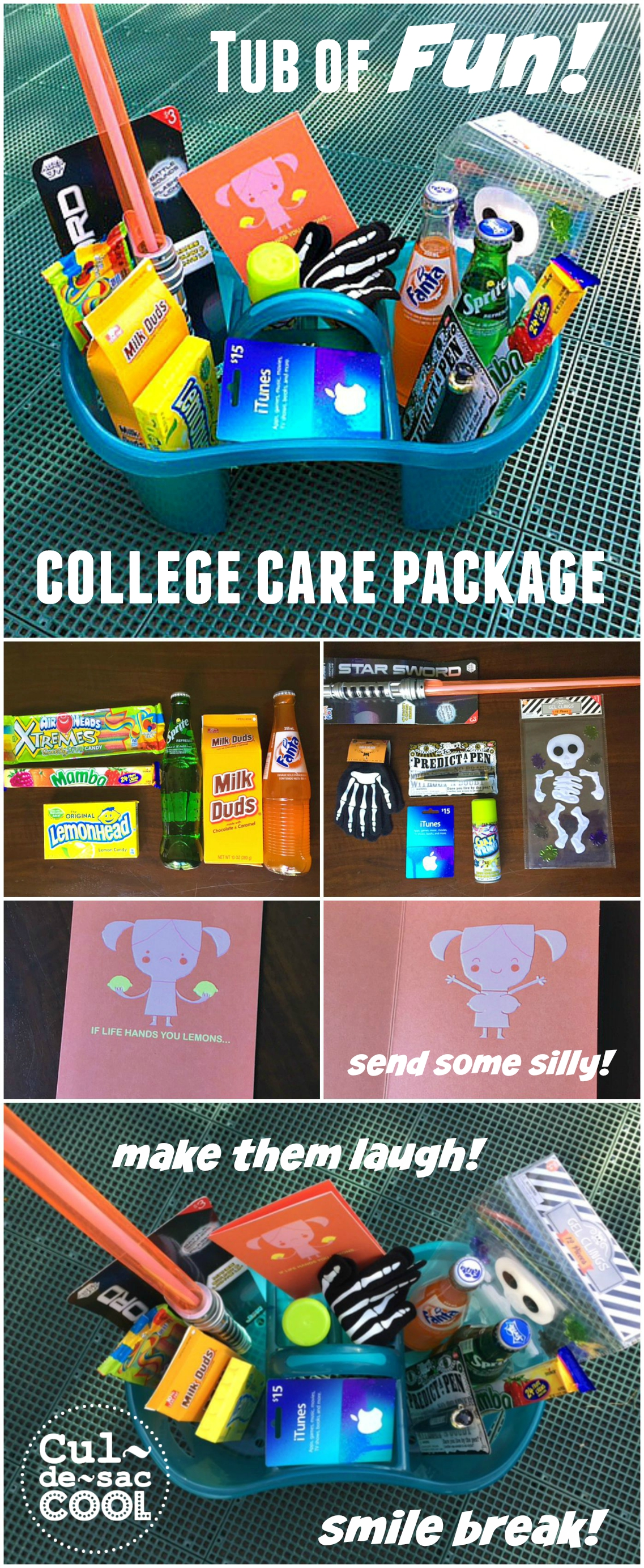 Tub of Fun College Care Package Collage