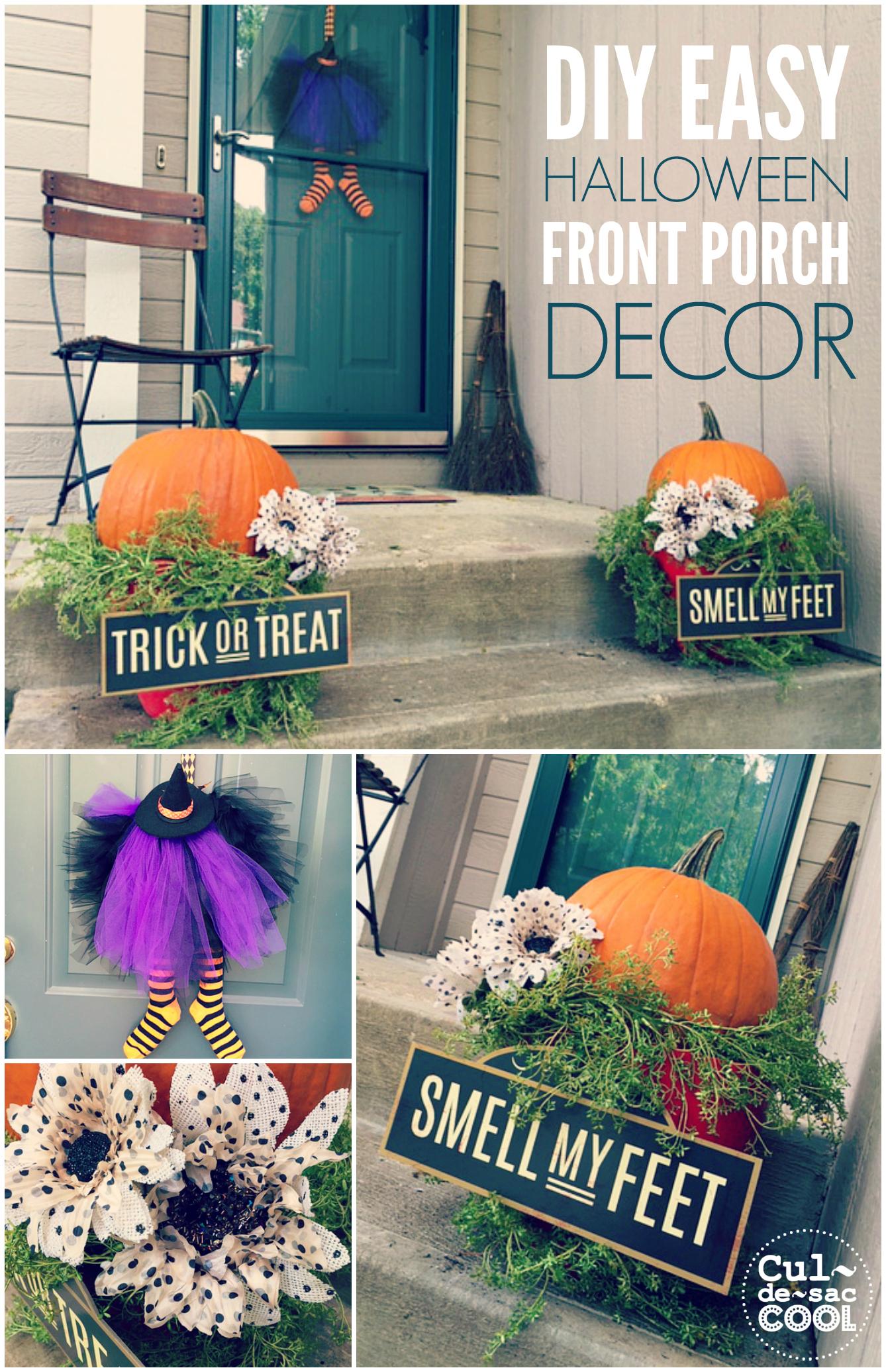 DIY Easy Halloween Front Porch Decor collage 3