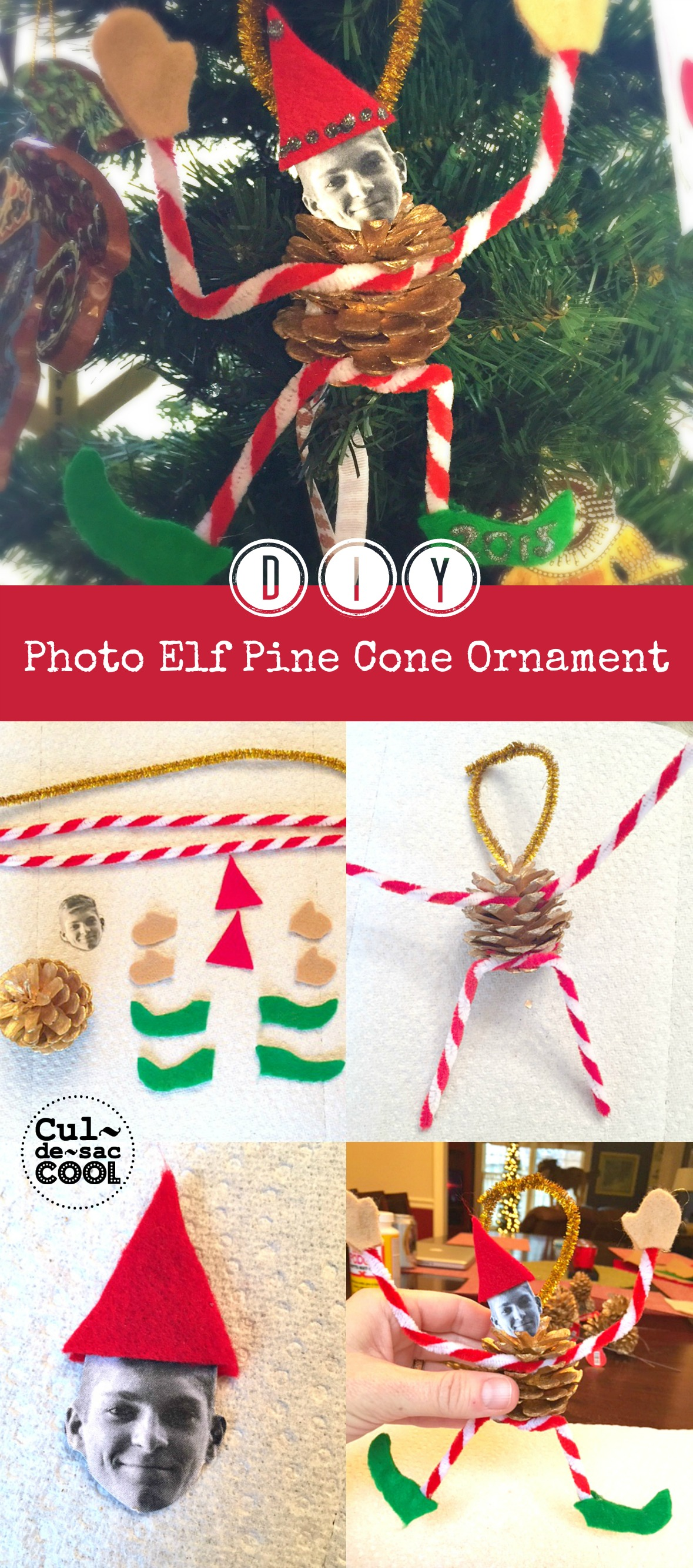 DIY Photo Elf Pine Cone Ornament Collage