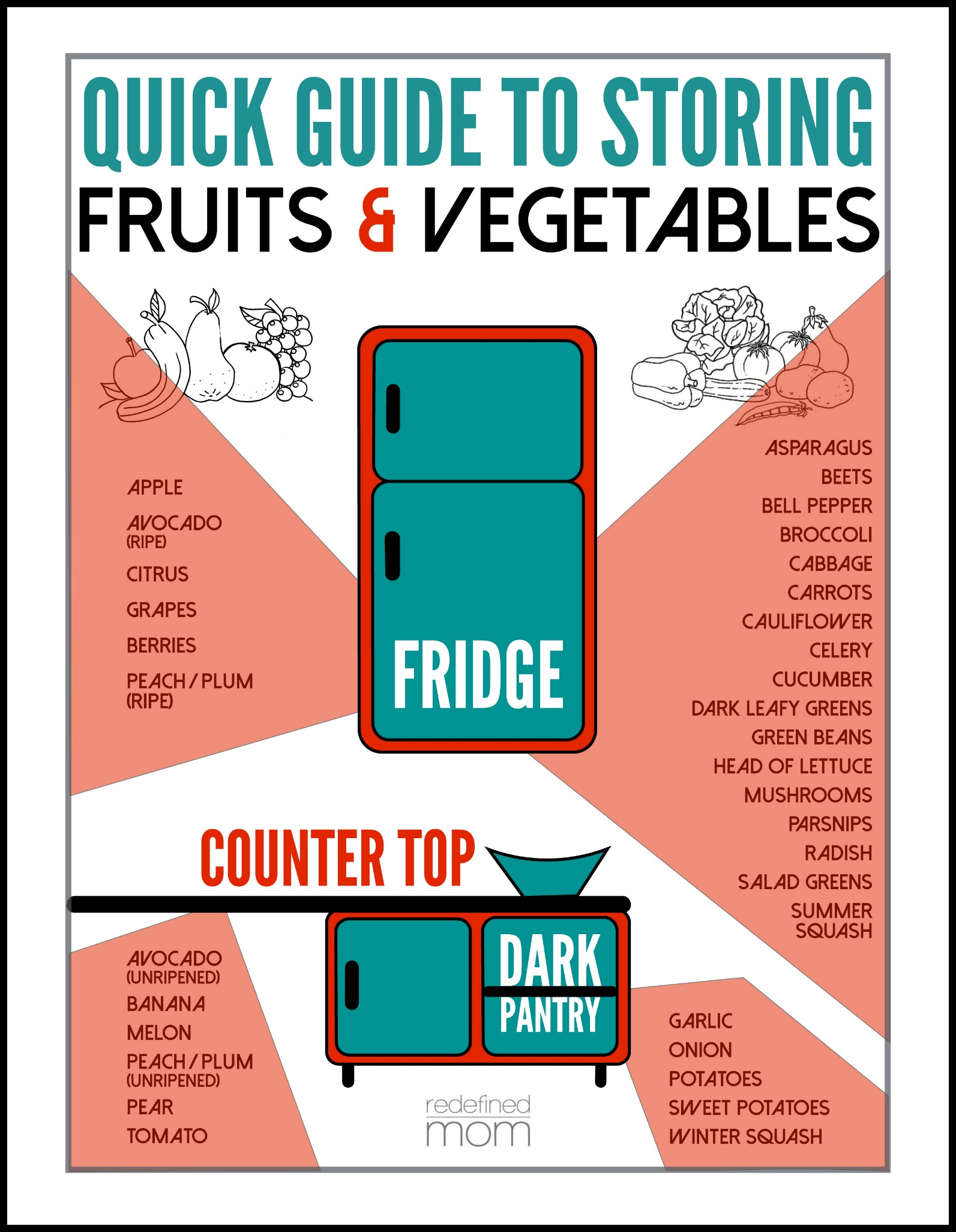 How to Store Fruits and Vegetables Info Graphic