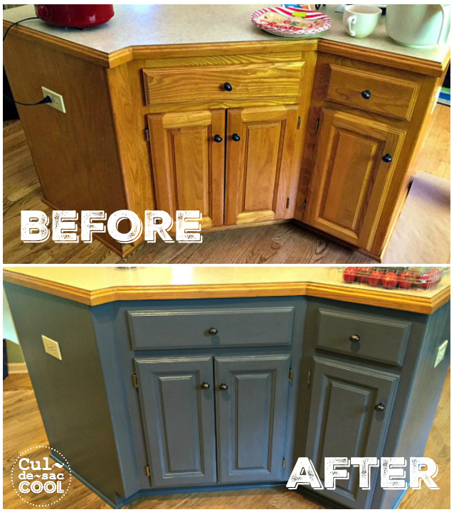 DIY Kitchen Island Remodel before and after