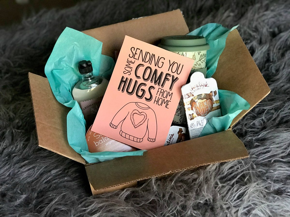 DIY Comfy Hugs College Care Package with Free Printable