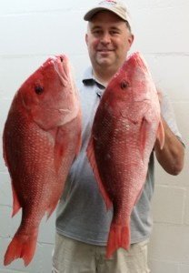 Matt with two big Red Snapper
