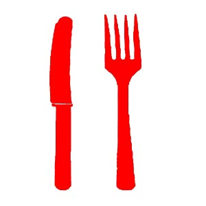 Mes en vork rood