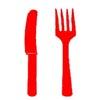 Mes en vork rood mini