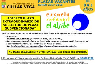 Escuela Infantil El Aljibe: Nuevo Plazo Solicitud Plaza Subvencionada