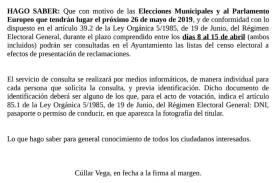 Abierto período de comprobación del Censo Electoral para Elecciones Municipales del 26 de Mayo