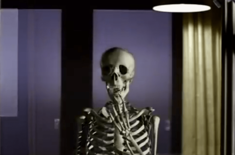 In a transition from childhood to adulthood, the heroine of the video sees herself as a skeleton