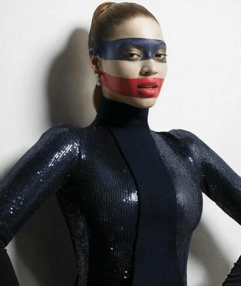 Beyonce's too cool to wear an American flag on her body, but she'll still show love for country on her face