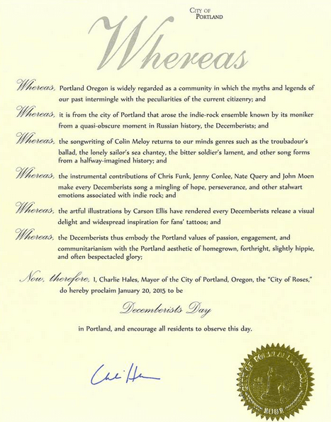 Official document declaring Decemberists Day