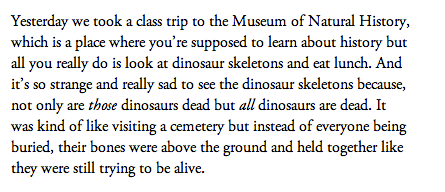 "Excerpt from installment two, ""The Museum of Natural History and Making Compromises"""