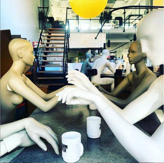 Mannequins at lunchroom By Jarmusch in Rotterdam