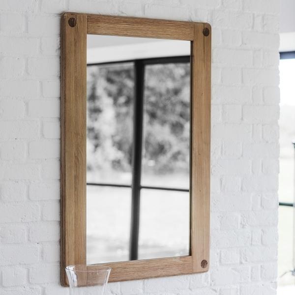 alpine large rectangle wall mirror solid oak wood