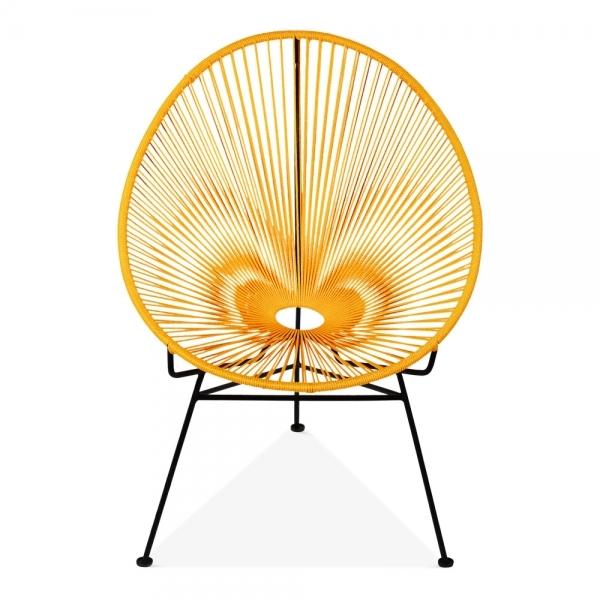 Mustard Woven Cord Armando Egg Lounge Chair Modern Garden Chairs
