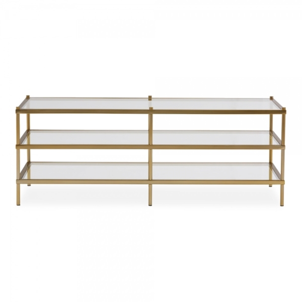 cult living allegra rectangle glass coffee table brushed brass