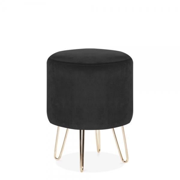 cult living paloma round low stool velvet upholstered onyx black