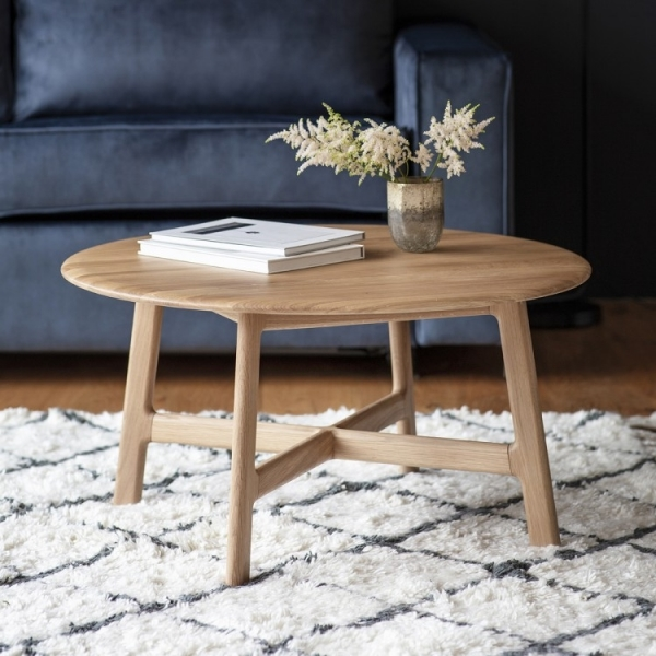 cult living safia round coffee table solid oak wood natural