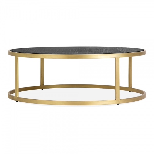 cult living madison round coffee table black marble top brass
