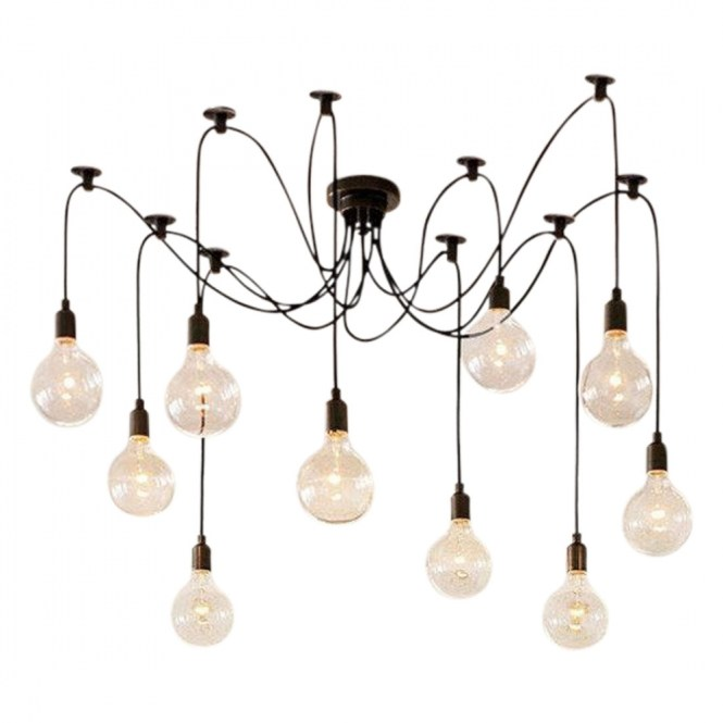 Edison Spider Chandelier Pendant Lights Black