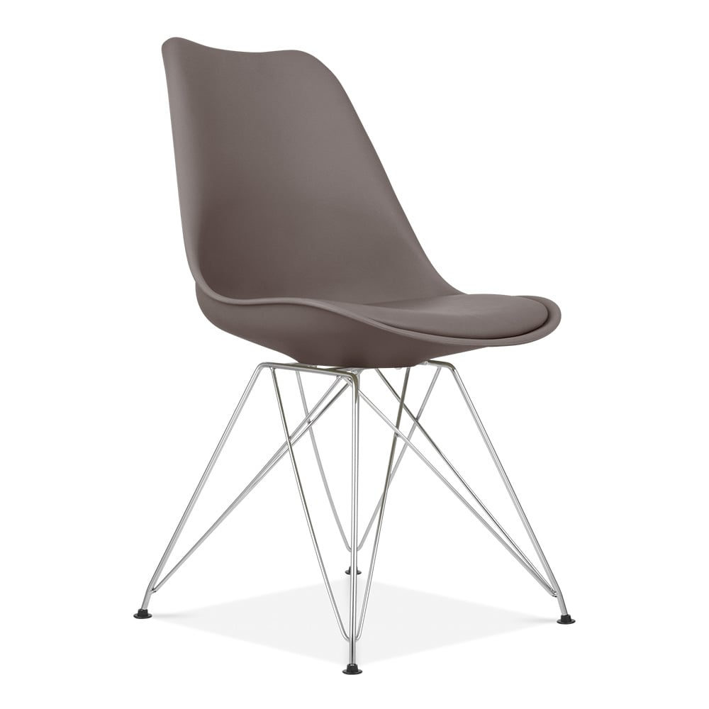 Eames Inspired Dining Chair In Grey With Metal Legs Cult UK