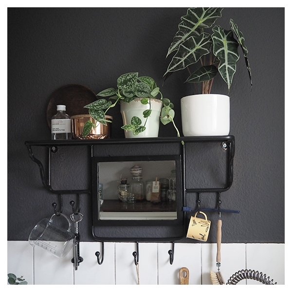 cult living avery wall mounted coat rack with mirror black