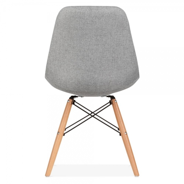 eames inspired dsw style chaise a manger tissu rembourre gris froid