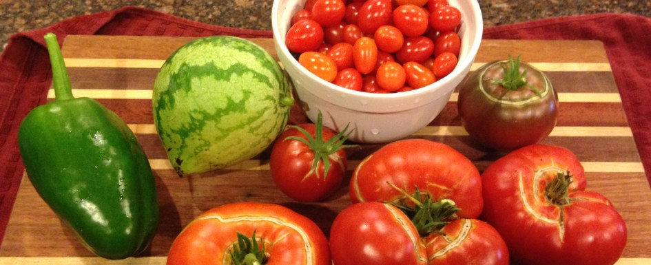 vegetable harvest, tomato, watermelon, bell pepper