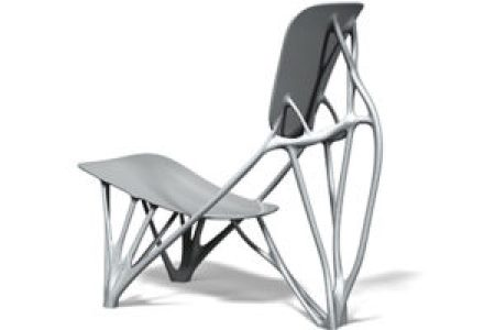 "A unique chair that appears to be made from bones. It's called ""Bone Chair"" and was designed by Joris Laarman."