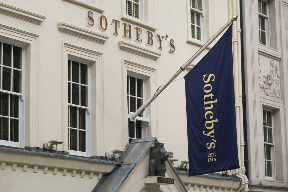 A photo taken from the outside of a Sotheby's office in London.