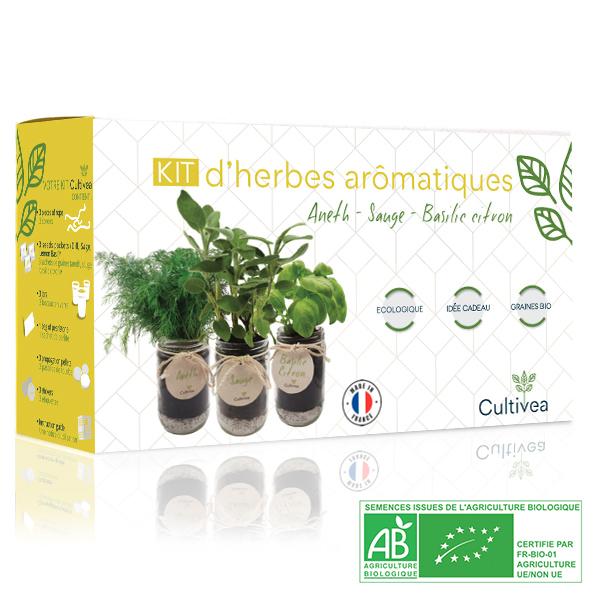 Photo présentation kit herbes aromatiques jaune