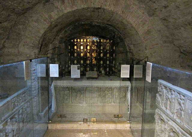 The sarcophagus of Mary Magdalene in the crypt beneath St. Maximin basilica