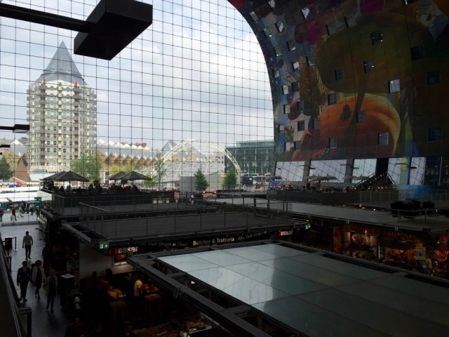 View over the Markthal in Rotterdam from an above terrace
