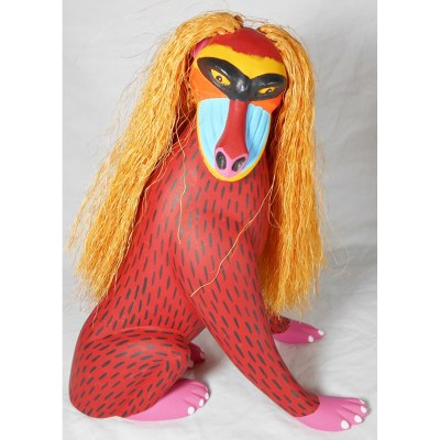 Oaxacan Wood Carving Luis Pablo: Mandrill Baboon