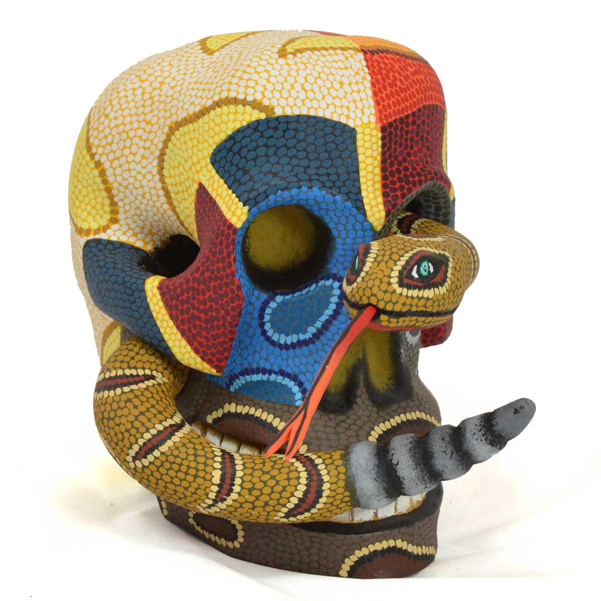 Eleazar Morales Eleazar Morales: Medium Human Skull with Rattlesnake Day of the Dead