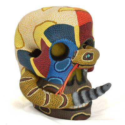 Eleazar Morales Eleazar Morales: Medium Human Skull with Rattlesnake Day of the Dead