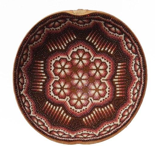 Wixárika (Huichol) Art Med. Carved and Beaded Jicarilla Bowl Beaded